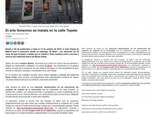 El arte femenino se instala en la calle Topete Madrid Diario 22/09/2018