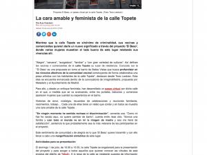 La cara amable y feminista de la calle Topete Madrid Diario 30/06/2018